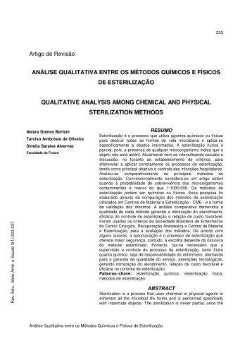 Análise Qualitativa entre os Métodos Químicos e Físicos