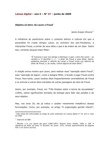 Objetos só letra: de Lacan a Freud - Latusa Digital