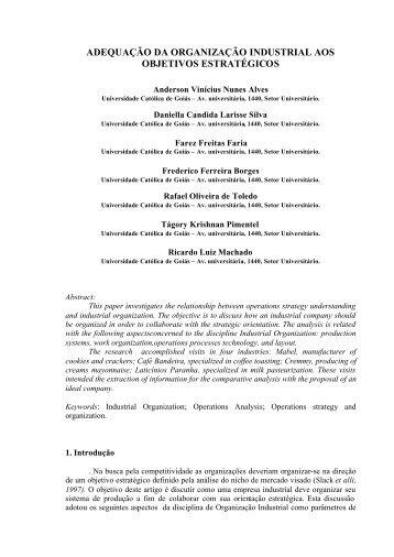 adequação da organização industrial aos objetivos estratégicos - Ucg