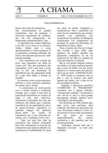 1º número da revista - Colégio São Vicente de Paulo