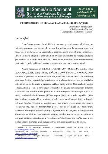 instituições de internação e a masculinidade juvenil - Itaporanga.net