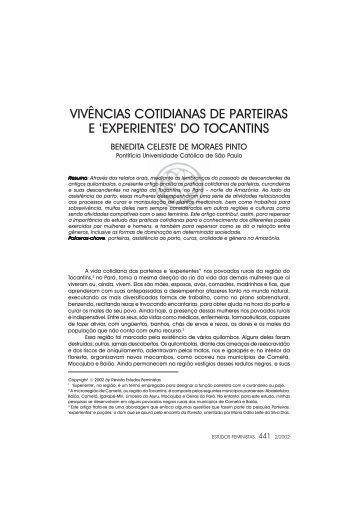 vivências cotidianas de parteiras e 'experientes' do tocantins - SciELO