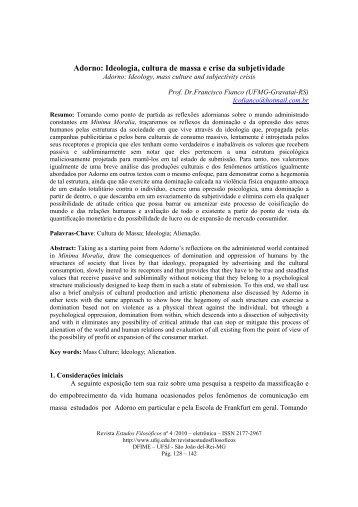 Adorno: Ideologia, cultura de massa e crise da subjetividade - UFSJ