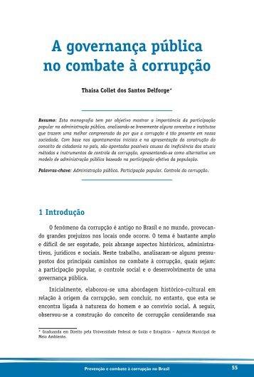 a governança pública no combate à corrupção - Controladoria ...