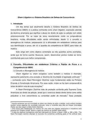 1 Sham Litigation e o Sistema Brasileiro de Defesa da ... - Sbdp