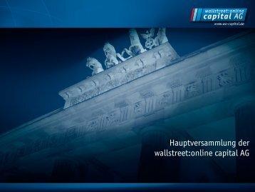 Präsentation des Vorstands (PDF 292 KB) - Wallstreet:online Capital ...