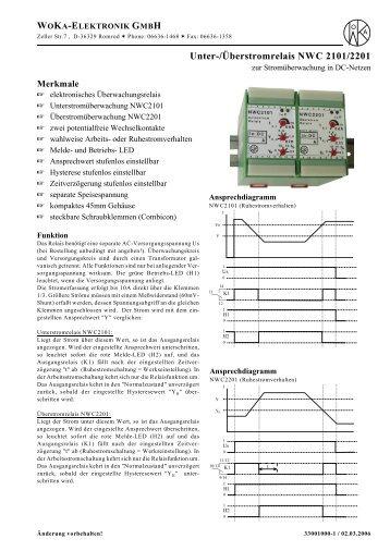 NWC2101/2201,DC- Unter-/Überstromrelais - WoKa Elektronik