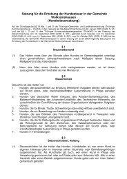 Satzung für die Erhebung der Hundesteuer in ... - Wolkramshausen