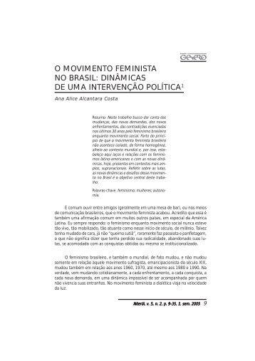 o movimento feminista no brasil - Instituto de Estudos de Gênero