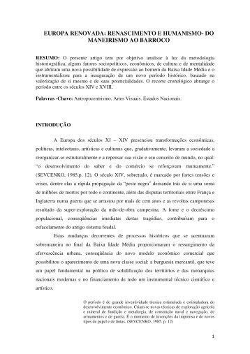 EUROPA RENOVADA: RENASCIMENTO E HUMANISMO- DO ...
