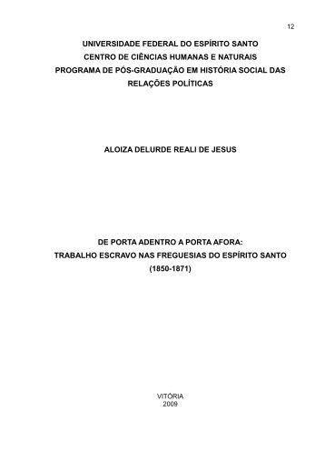 trabalho escravo nas Freguesias do Espírito - Programa de Pós ...