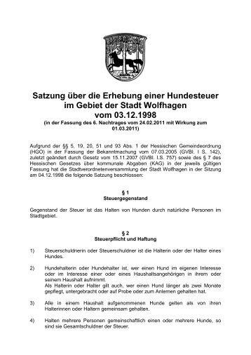 Hundesteuersatzung - Stadt Wolfhagen