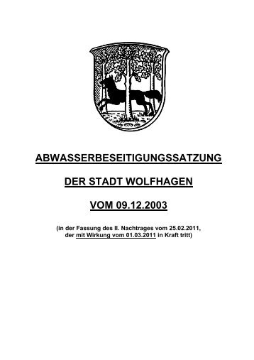 ABWASSERBESEITIGUNGSSATZUNG DER STADT WOLFHAGEN ...