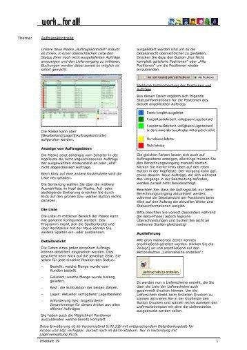 Thema: Auftragskontrolle - work ... for all!