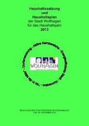 Hauhaltssatzung und Haushaltsplan 2013 - Stadt Wolfhagen