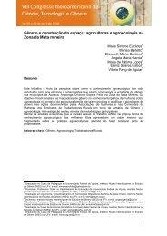Gênero e construção do espaço: agricultoras e agroecologia - UTFPR