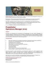 Projektleiter/ Operations Manager (m/w) - Worldwidejobs.de