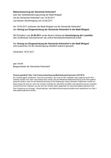 Bekanntmachung der Gemeinde Hohendorf über ... - Stadt Wolgast