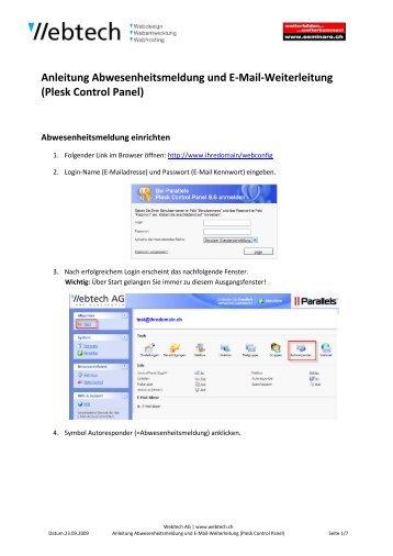 Anleitung Abwesenheitsmeldung und E-Mail ... - Webtech AG