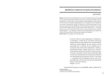 IMANÊNCIA E AMOR NA FILOSOFIA DE ESPINOSA* - fflch - USP