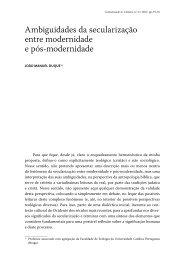 Ambiguidades da secularização entre modernidade e pós ...