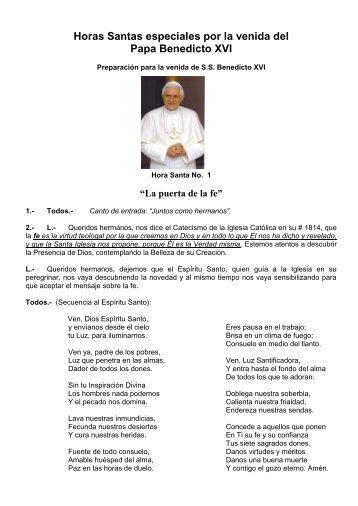 Horas Santas especiales por la venida del Papa Benedicto XVI