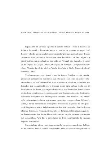 José Ramos Tinhorão – As Festas no Brasil Colonial, São Paulo ...
