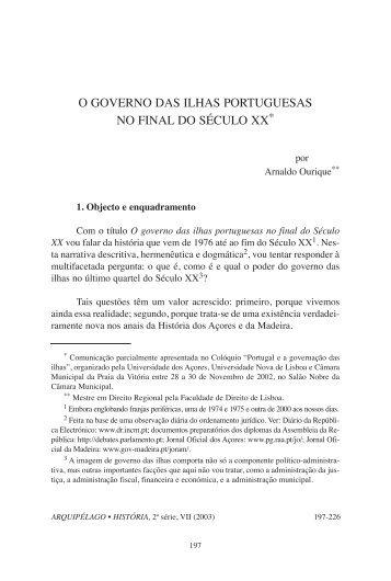 o governo das ilhas portuguesas no final do século xx - Instituto ...