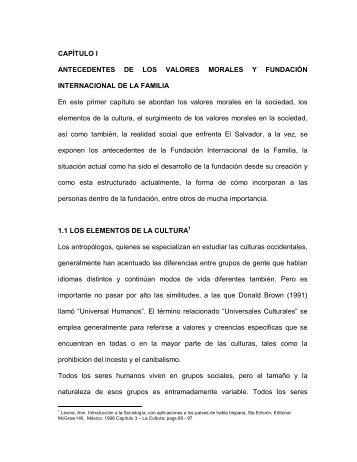 CAPÍTULO I ANTECEDENTES DE LOS VALORES MORALES Y ...