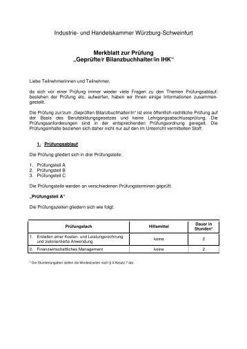 merkblatt zur prfung geprfter bilanzbuchhalterin informationen - Fachgesprach Industriemeister Metall Beispiele