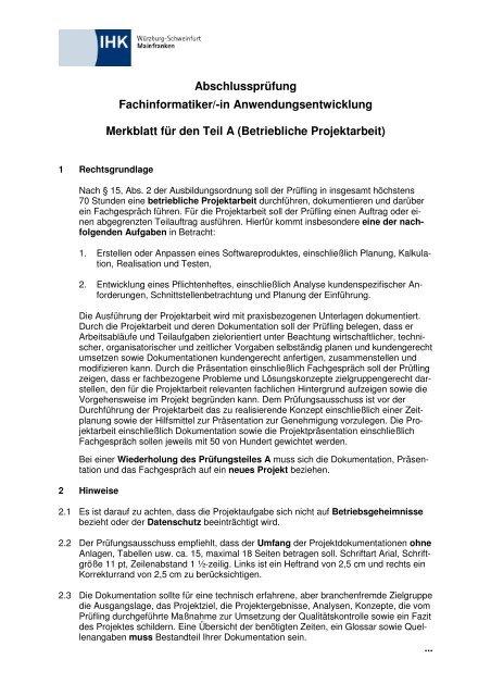 Merkblatt Fachinformatiker Ihk Würzburg Schweinfurt