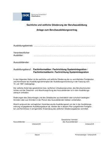 Fachinformatiker Systemintegration Sachliche und zeitliche ...