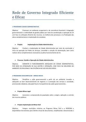 Rede de Governo Integrado Eficiente e Eficaz - Secretaria de ...