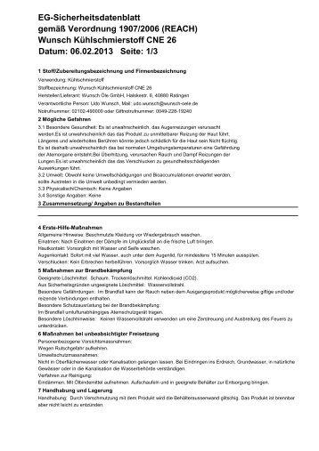 Wunsch Kühlschmierstoff CNE 26 Datum: 06.02.2013 Seite: 1/3 EG ...