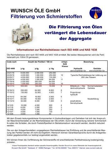 WUNSCH ÖLE GmbH Filtrierung von Schmierstoffen