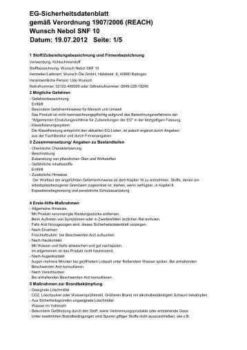 Wunsch Nebol SNF 10 Datum: 19.07.2012 Seite - Wunsch Öle GmbH