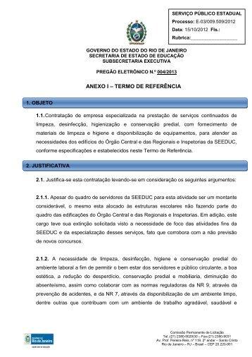 ANEXO I – TERMO DE REFERÊNCIA - Governo do Estado do Rio ...