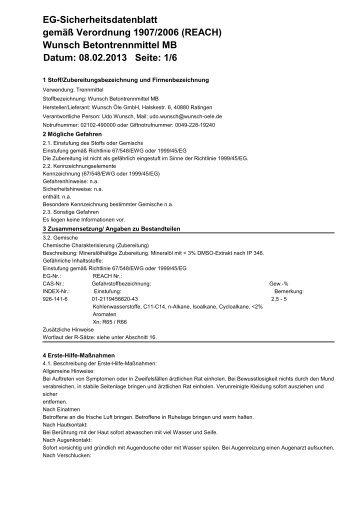Betontrennmittel MB - Wunsch Öle GmbH