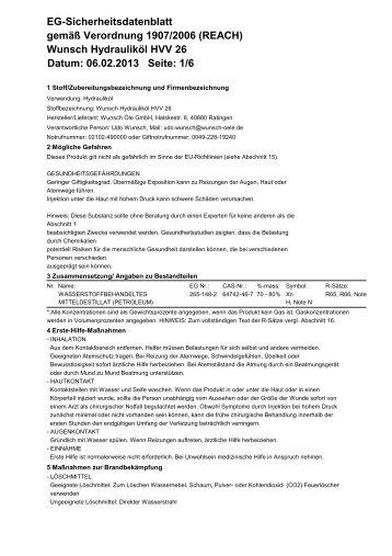 Wunsch Hydrauliköl HVV 26 Datum: 06.02.2013 Seite - Wunsch Öle ...