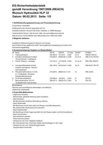 Wunsch Hydrauliköl HLP 32 Datum: 06.02.2013 Seite - Wunsch Öle ...