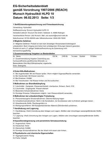 Wunsch Hydrauliköl HLPD 10 Datum: 06.02.2013 Seite: 1/3 EG ...