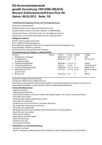 Wunsch Kühlschmierstoff Extra Plus HD Datum: 06.02.2013 Seite: 1 ...