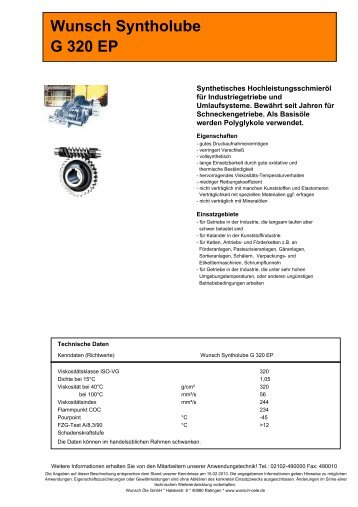 Wunsch Syntholube G 320 EP - Wunsch Öle GmbH