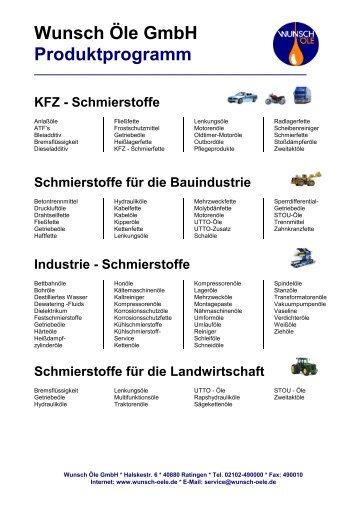 Wunsch Öle GmbH Produktprogramm
