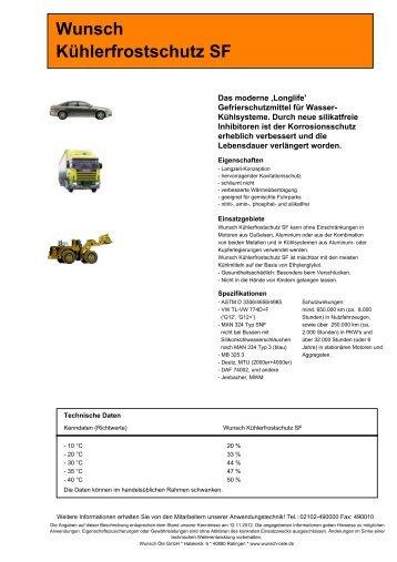 kuehlerfrostschutz sf - Wunsch Öle GmbH