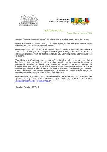 NOTÍCIAS DO DIA - Museu Paraense Emílio Goeldi