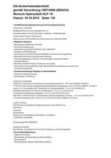 Wunsch Hydrauliköl HLP 10 Datum: 19.10.2012 Seite - Wunsch Öle ...
