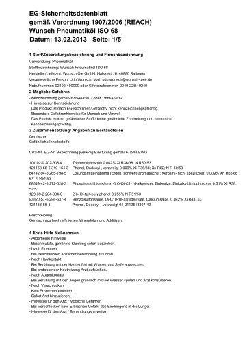 Wunsch Pneumatiköl ISO 68 Datum: 13.02.2013 Seite - Wunsch Öle ...