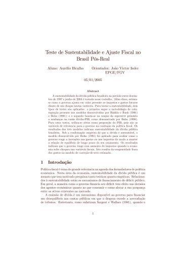 Teste de Sustentabilidade e Ajuste Fiscal no Brasil PósMReal