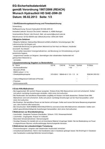 Wunsch Hydrauliköl HD SAE-20W-20 Datum: 06.02.2013 Seite: 1/3 ...